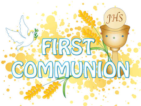 illustration for first communion with some symbol Stock Photo