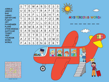 game for children: easy crossword with mysterious word Stock Photo