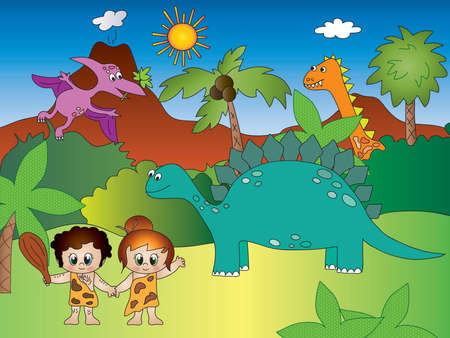 Funny cartoon with dinosaurs and primitive men Stock Photo