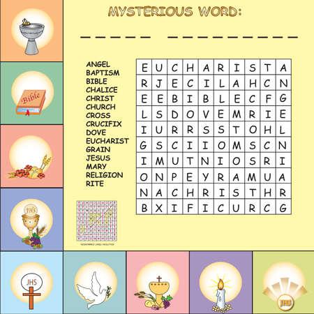 sacraments: Crosswords for first communion for children Stock Photo