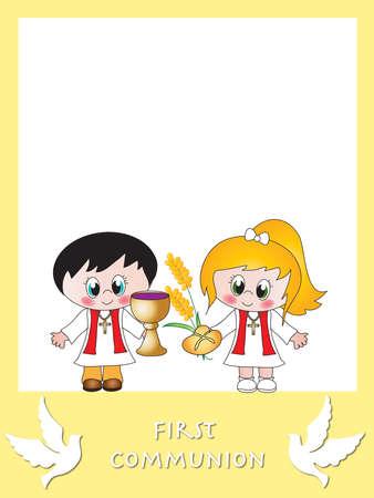 illustratie voor eerste communie met kinderen