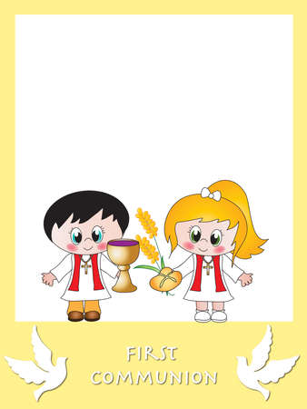 illustration for first communion with children
