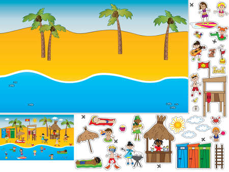 boy swim: game for children: cut and paste the summer landscape Stock Photo