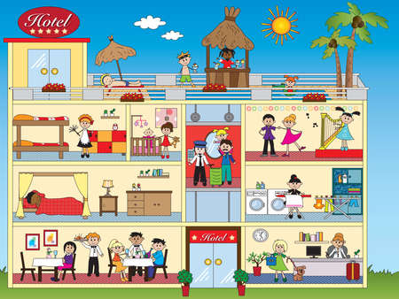 people: illustration of interior hotel with happy people