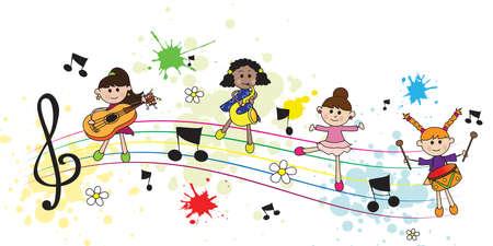 pentagramma musicale: Illustrazione con felici ragazze con pentagramma e note musicali