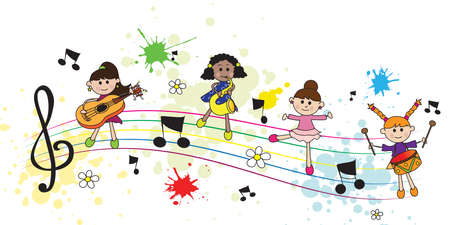 illustration with happy girls with pentagram and musical notes