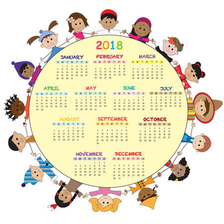 calendar 2018 with happy children