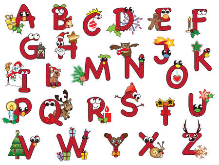 red christmas alphabet with happy letters