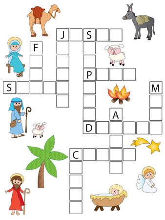 Spel voor kinderen: kerstkruiswoordraadsel Stockfoto