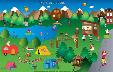 Game for children :  find eight intruses in mountain landscape