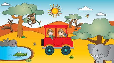 illustration of africa savannah with animals