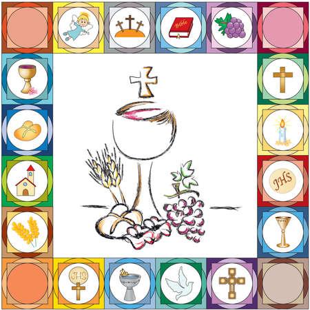 illustration pour la première carte de communion