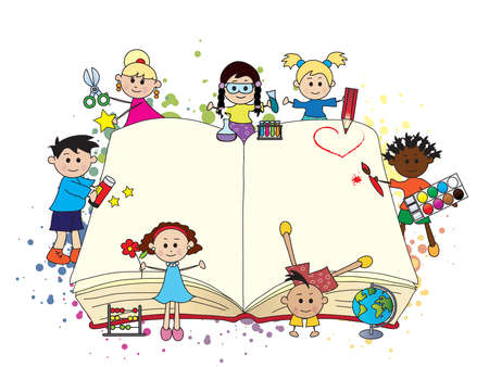 happy children with big open book