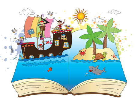 pirates come out of an open book Stock Photo