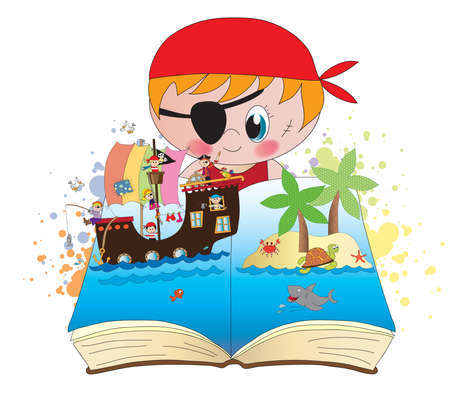 pirate book with happy children