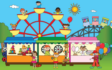 Illuastration of amusement park with happy children Stock Photo
