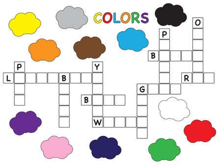 easy game for children: colors crossword Stock Photo