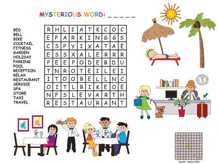 game for children: crossword of hotel