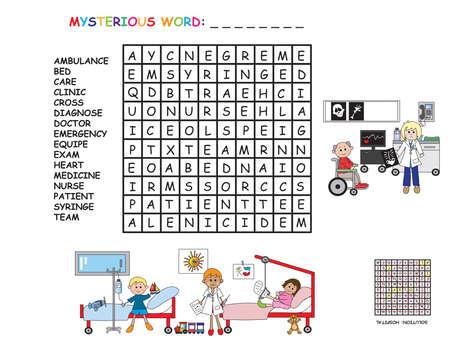 game for children: crossword of hospital