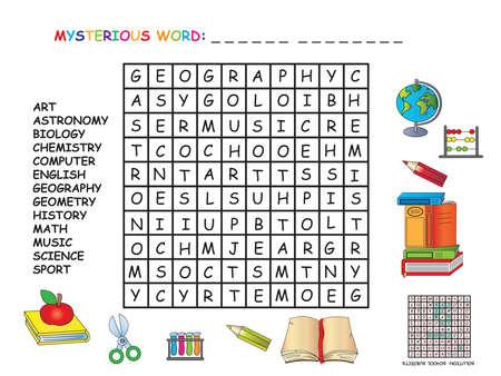 game for children: crossword of school subjects Imagens