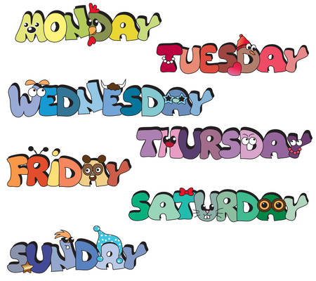 illustration of days of week written