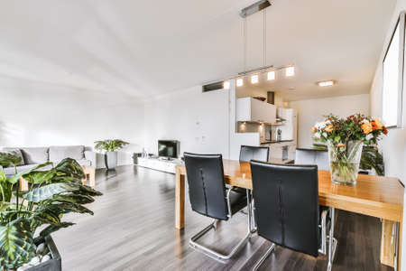 Table with chairs and flowers located near lounge area and kitchen in spacious room of contemporary apartment Archivio Fotografico