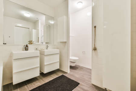 Toilet and sinks with mirror located in minimalist style bathroom with white walls