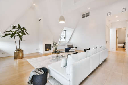 Contemporary minimalist interior design of lounge zone with couches and carpet in attic open space apartment with white walls and loft style Archivio Fotografico