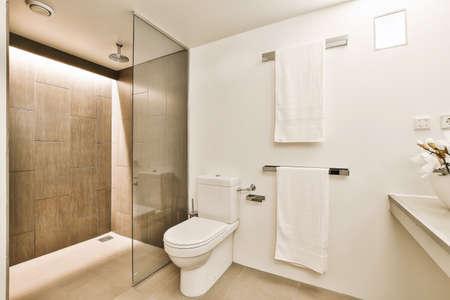 Luxury interior design of a bathroom with marble walls Foto de archivo