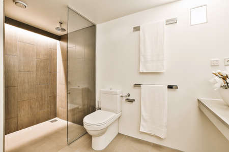 Luxury interior design of a bathroom with marble walls Reklamní fotografie