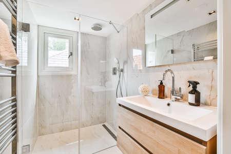 Luxury interior design of a bathroom with marble walls Stock fotó