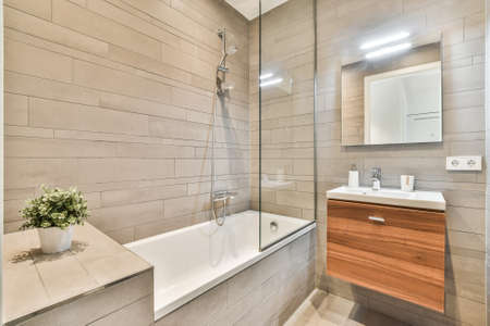 Luxury interior design of a bathroom with marble walls