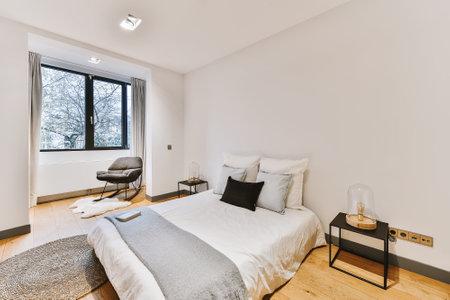 Beautiful interior design of modern and cozy bedroom