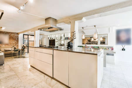 Interior of a beautiful kitchen in cozy apartment