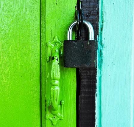 master key on color door photo