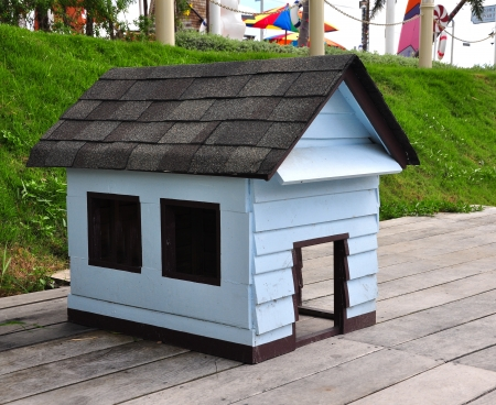grassy knoll: wooden dog house
