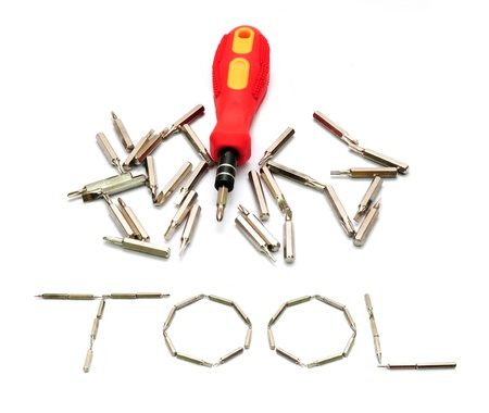 Tool yellow screwdriver heads toolkit isolated on white  photo