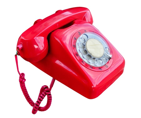 A red rotary telephone . Stock Photo - 20330652