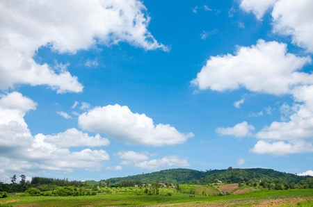 sky scape: summer mountains green grass and blue sky landscape