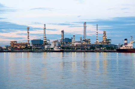Oil refinery factory at twilight Bangkok Thailand  photo