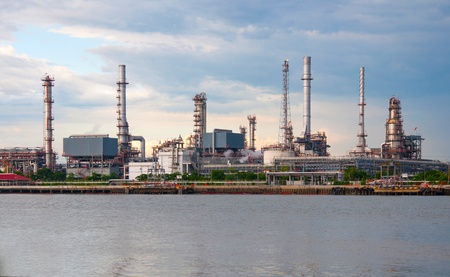 Oil refinery factory at river in  Bangkok Thailand. photo