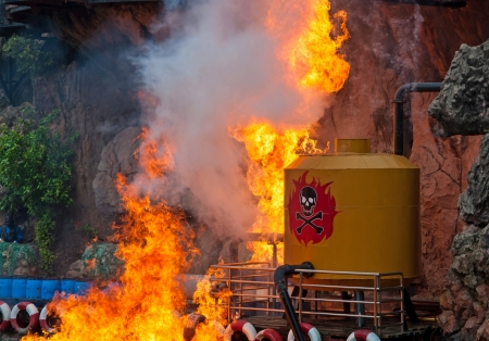 gas fire: Gas fire explosion on water  Stock Photo