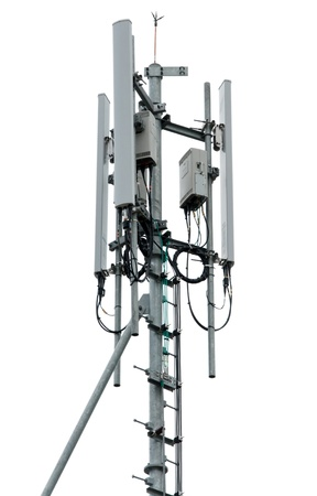 Cell tower and radio antenna. 스톡 콘텐츠
