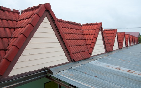 Red roof tiles and zinc photo