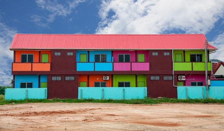 vacant land: Colorful houses on vacant land.