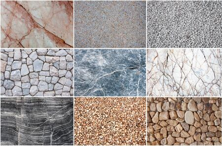 group of texture grunge stone marble and pebble for background.