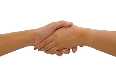 Woman and man handshaking. Isolated on white background.