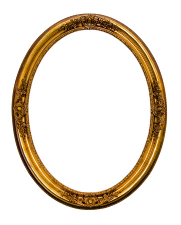 Ornamented gold plated empty picture frame Isolated on white background.  Stock Photo