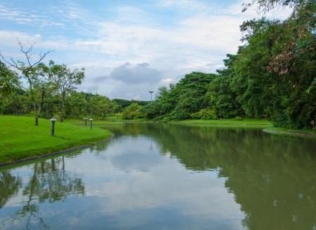 Landscape of lake in the spring park.
