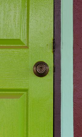 Door knob on color door. photo
